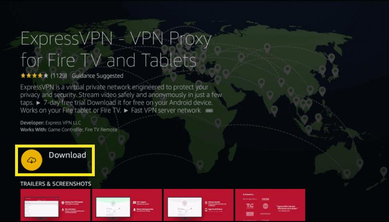 """Klicken Sie auf """"Herunterladen"""", um die ExpressVPN-App herunterzuladen."""