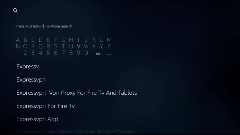 """Suchen Sie auf Ihrem Amazon Fire-Gerät nach """"ExpressVPN""""."""