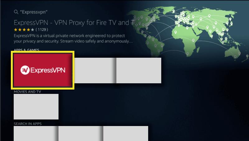 Seleccione ExpressVPN entre los resultados de la búsqueda.