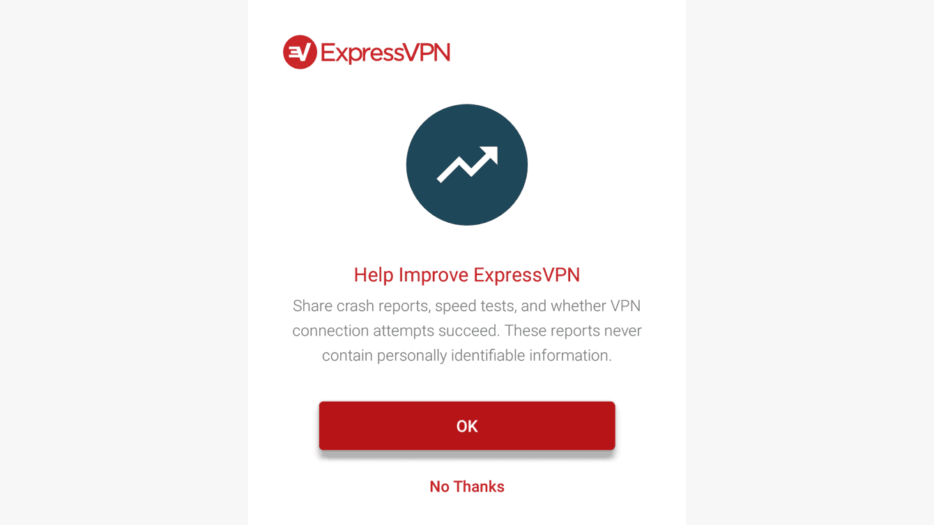 Select your preference for whether you want to help improve ExpressVPN.