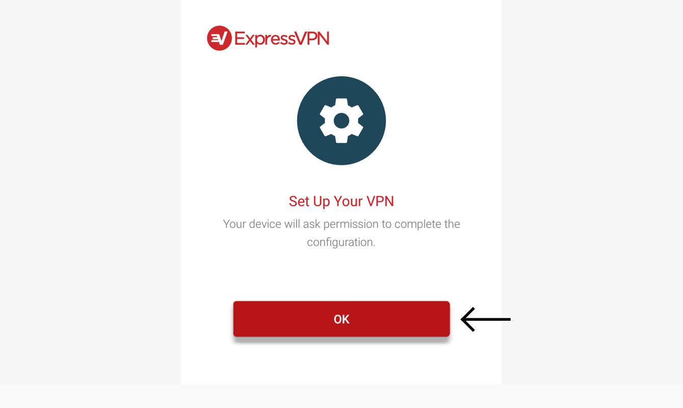 """Wählen Sie """"OK"""", um ExpressVPN einzurichten."""