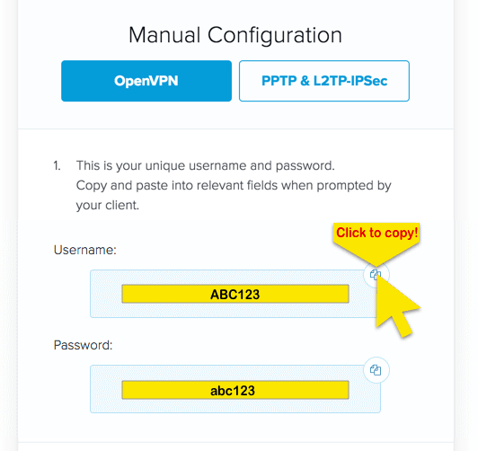 openvpn credentials