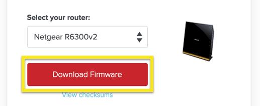 ExpressVPN setup pagina met de knop Firmare Downloaden gemarkeerd.