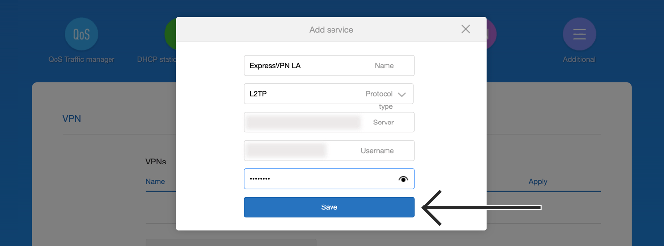 "Enter the details for the L2TP VPN configuration, then click ""Save."""