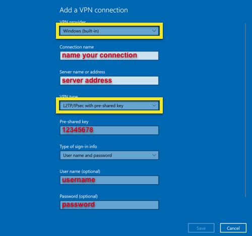 Ajouter une connexion L2TP sous Windows
