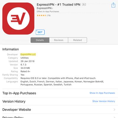 app store verify expressvpn developer