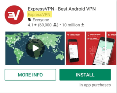Verify the Play Store app supplier is ExpressVPN.