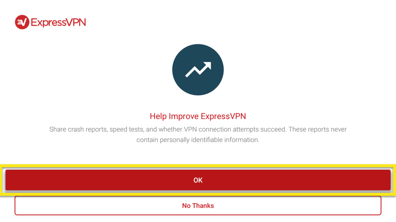 Send anonymous analytics to help improve ExpressVPN on Android TV Box.
