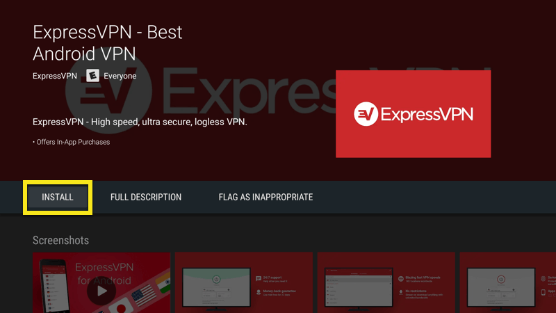 Install the ExpressVPN app on Android TV Box.