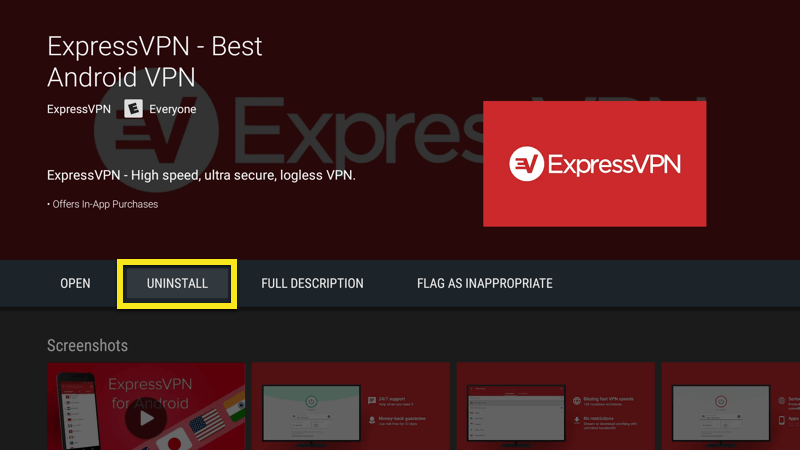 Uninstall the ExpressVPN app on Android TV.