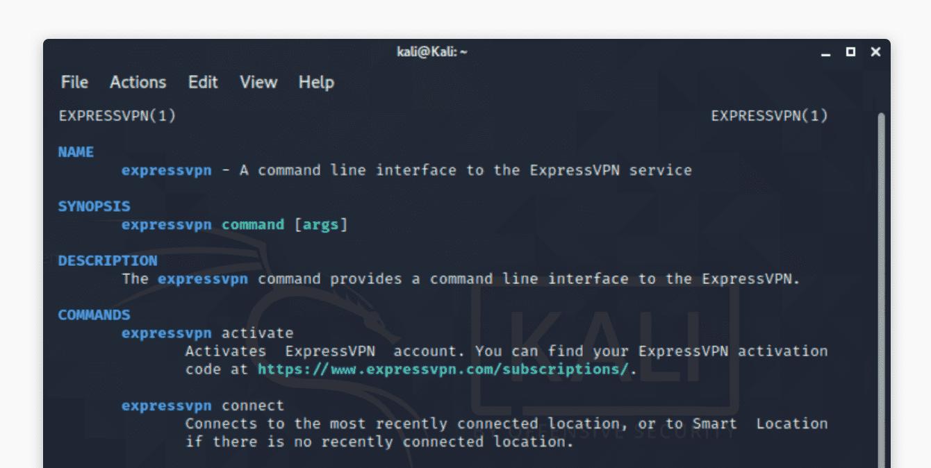 "Run ""man expressvpn"" to see a list of commands."