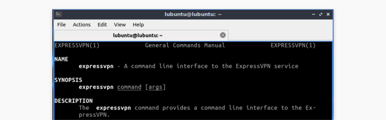 The ExpressVPN Linux app commands manual.