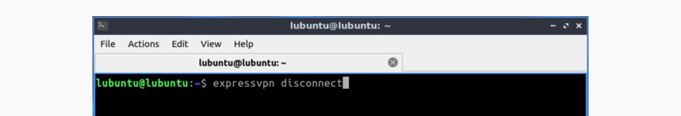 """Run """"expressvpn disconnect."""""""