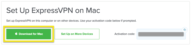 ExpressVPN setup screen with Download for Mac button highlighted.