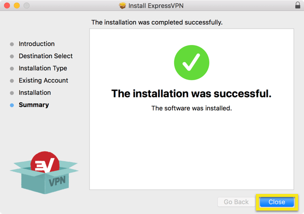 Installer Summary screen with Close button highlighted.