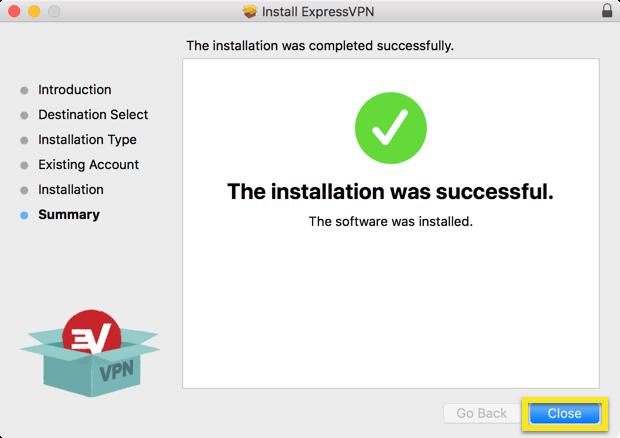 Installatie samenvattingsscherm met Sluiten button gemarkeerd.
