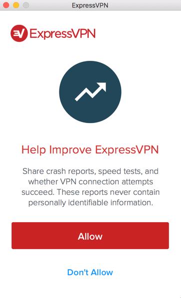 ExpressVPN diagnostics sharing request screen.