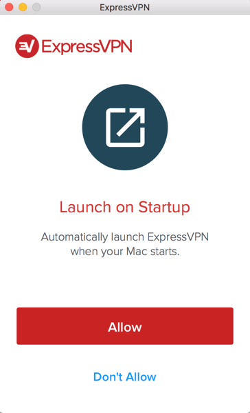 ExpressVPN Launch on Startup request screen.