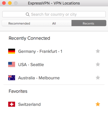 ExpressVPN locations menu showing Recent locations.