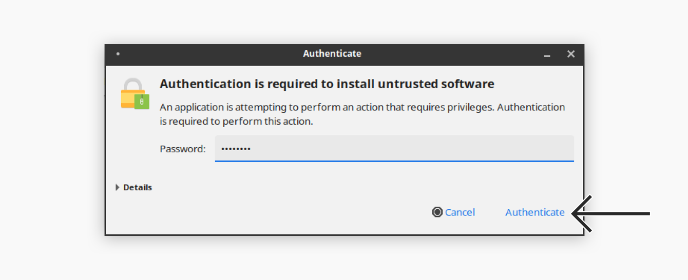 "Click ""Authenticate."""