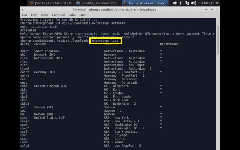 ubuntu studio expressvpn list