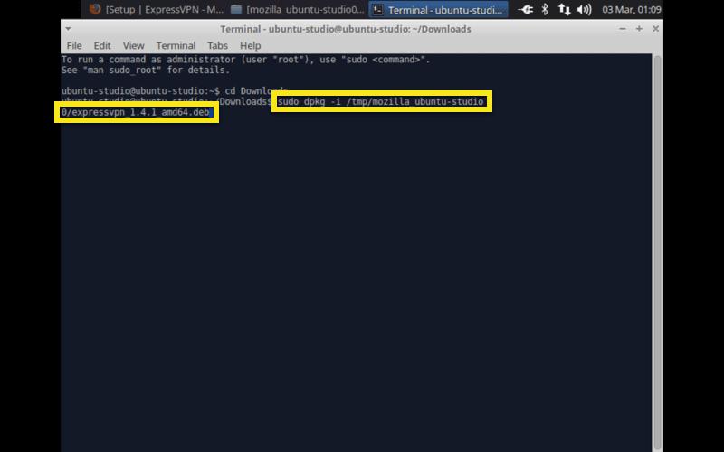 ubuntu studio install expressvpn command