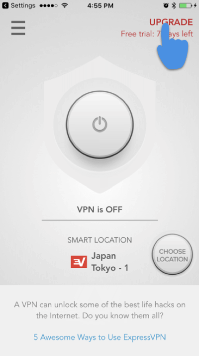 tap upgrade expressvpn ios