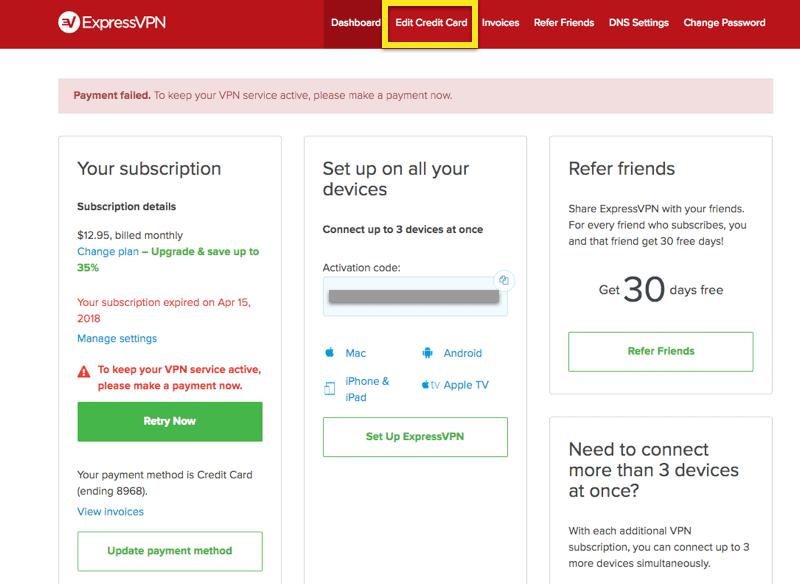 Automatic Renewal Payment Failed | ExpressVPN