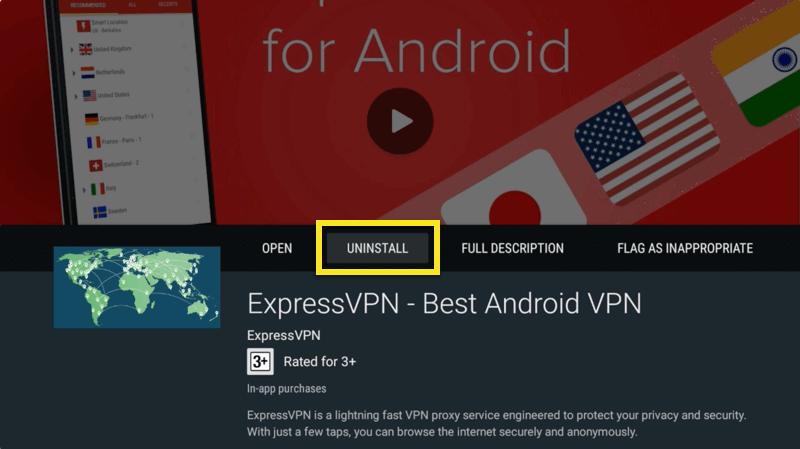 mi box uninstall expressvpn app