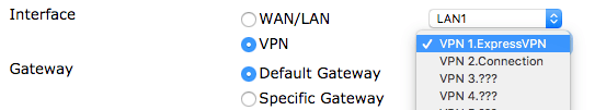 The DrayTek router's VPN Interface screen, with the Default Gateway setting highlighted.