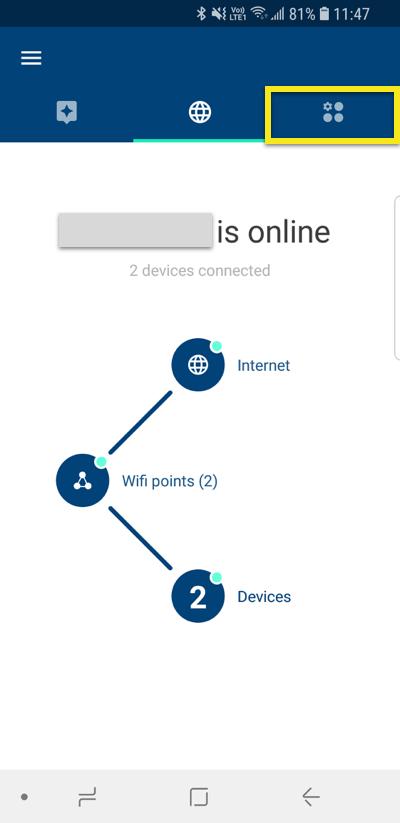Appli Google Wifi avec l'icône de l'onglet « Raccourcis et paramètres » en surbrillance.