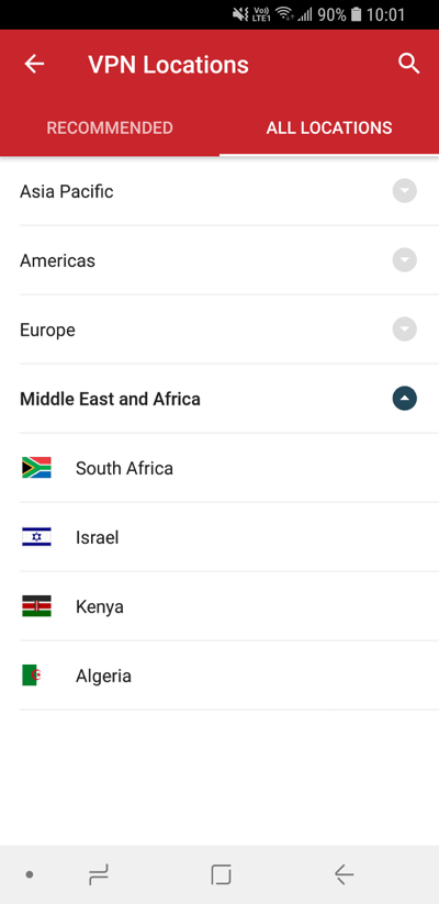 ExpressVPN Locations screen showing All Locations.