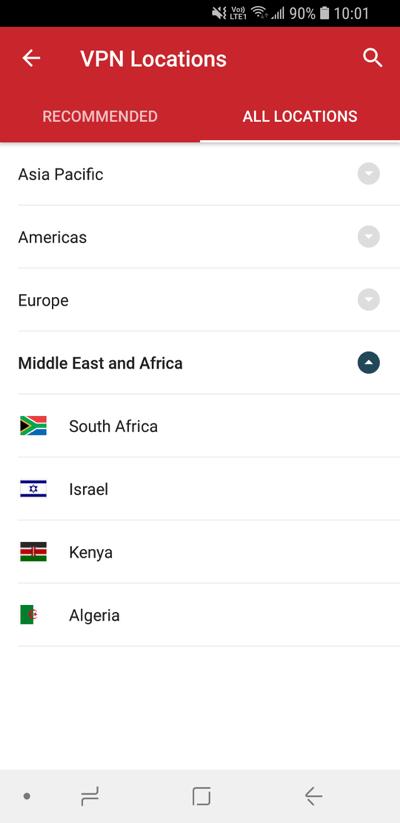 Schermata Posizioni ExpressVPN che mostra Tutte le posizioni.
