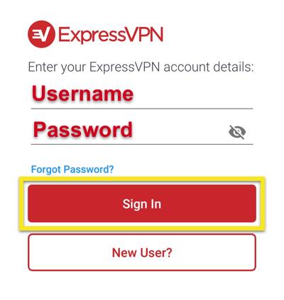 ExpressVPN Schermata di accesso che mostra nome utente e password con il pulsante Accedi evidenziato.