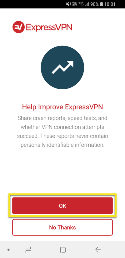 ExpressVPN diagnostics sharing request with OK button highlighted.