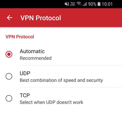 Menu Protocollo VPN.