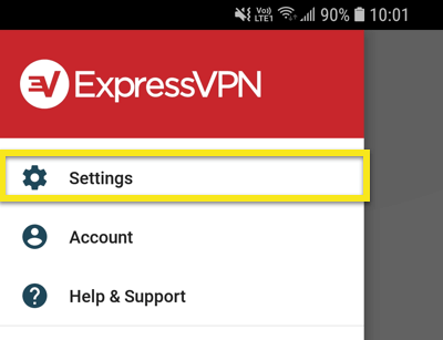 ExpressVPN About menu with Settings highlighted.