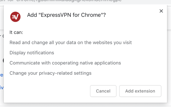 The ExpressVPN Chrome extension permissions screen.