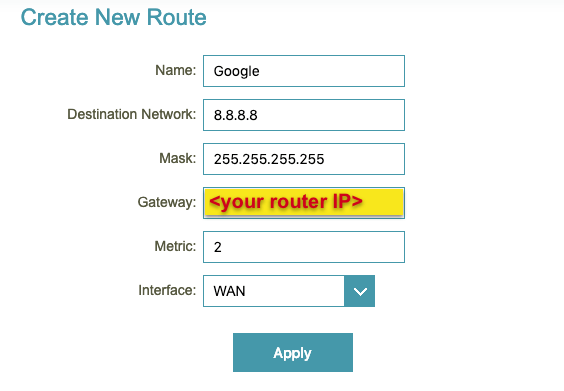 Enter a static route rule in the D-Link router dashboard.