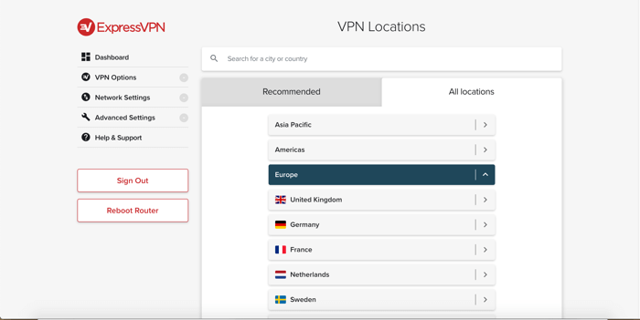 Browser server locations in the ExpressVPN router app.
