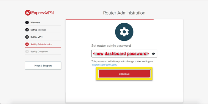 Set the new dashboard password.