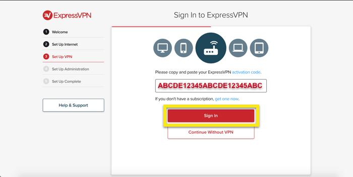 Inserisci il tuo codice di attivazione ExpressVPN.