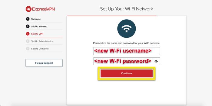 Configura il nome utente e la password del Wi-Fi.