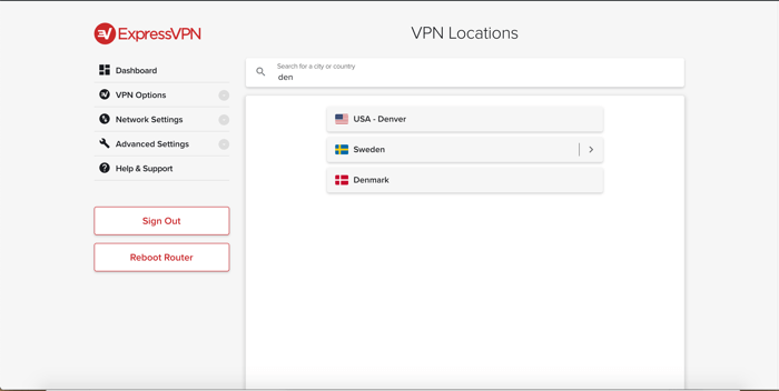 Search for locations in the ExpressVPN router app.