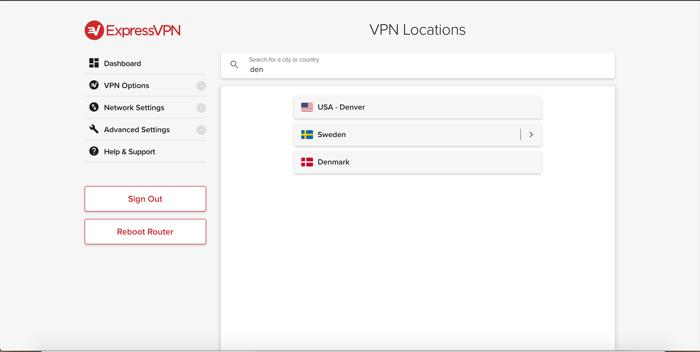 Cerca la posizione nell'app ExpressVPN per router.