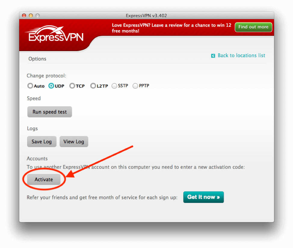 Click to activate the ExpressVPN app.