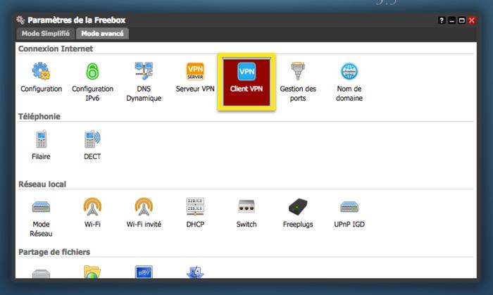 Dans l'onglet Mode avancé, cliquez sur Client VPN.