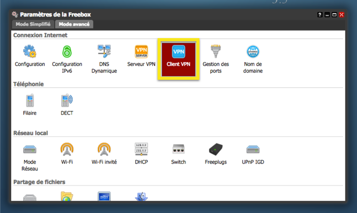 Under the Mode avancé tab, click on Client VPN.