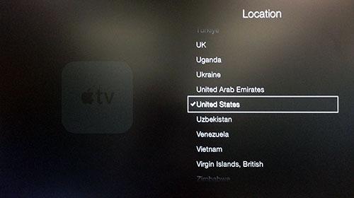 Menu Location Apple TV con United States evidenziato.
