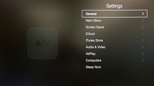 Menu Ajustes da Apple TV com Geral destacado.